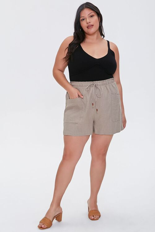 Plus Size Linen Paperbag Shorts, image 5