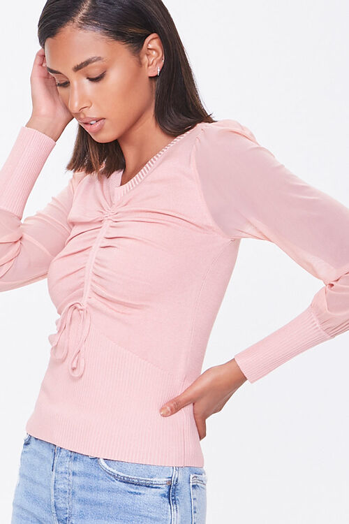 Sweater-Knit Ruched Top, image 1