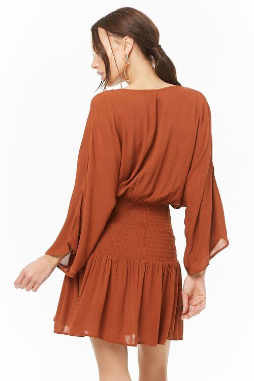 Smocked Surplice Mini Dress, image 3