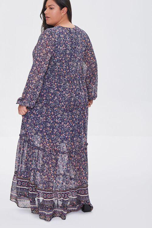 NAVY/MULTI Plus Size Chiffon Floral Maxi Dress, image 3