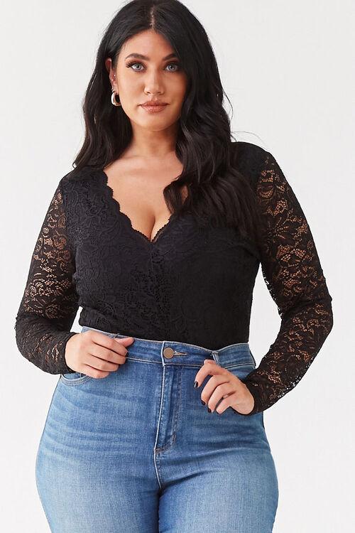 Plus Size Floral Lace Bodysuit, image 1