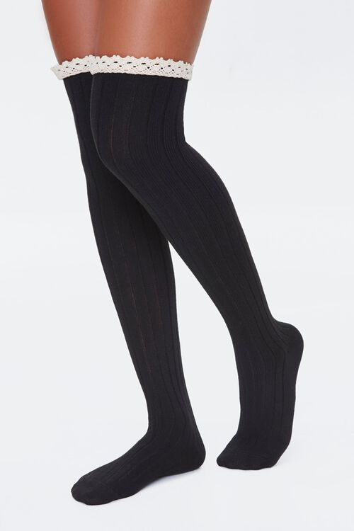 Over-the-Knee Lace-Trim Socks, image 1