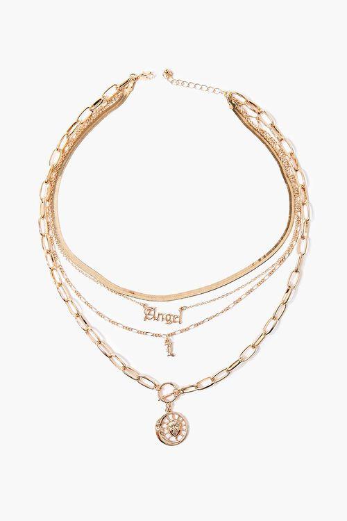 GOLD Angel Sun Pendant Layered Necklace, image 2