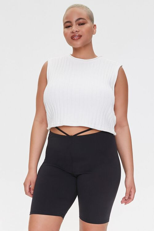 Plus Size Strappy Cutout Biker Shorts, image 1