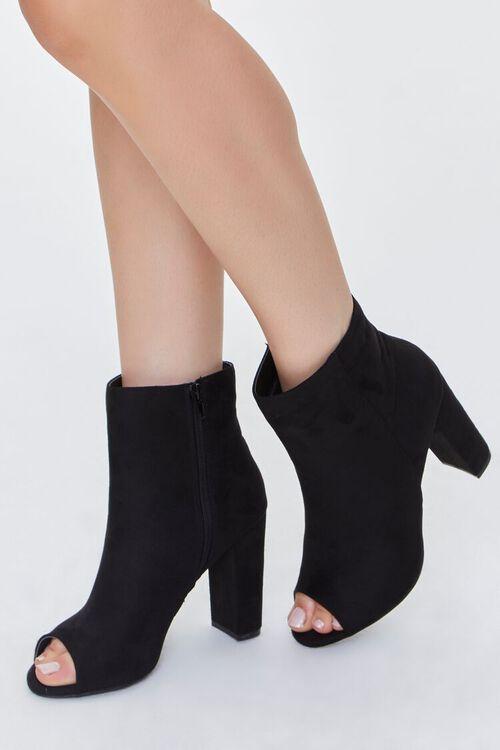 BLACK Peep-Toe Block Heel Booties, image 1