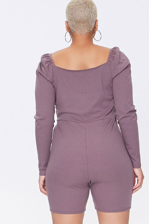Plus Size Shirred Rib-Knit Romper, image 3