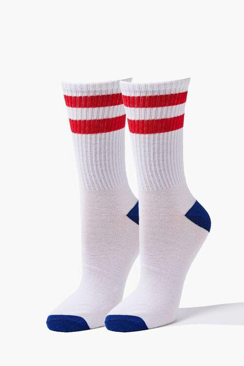 Varsity-Striped Crew Socks, image 1
