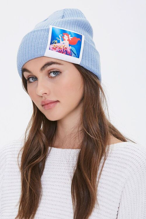 BLUE Ariel Graphic Ribbed Beanie, image 2