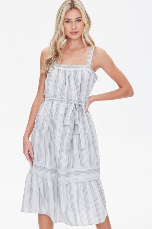 Striped Fit & Flare Dress, image 1