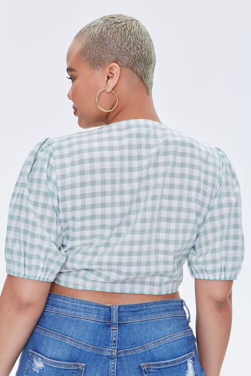 Plus Size Gingham Crop Top, image 3