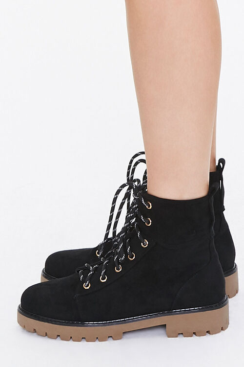 Lace-Up Faux Suede Ankle Booties, image 2