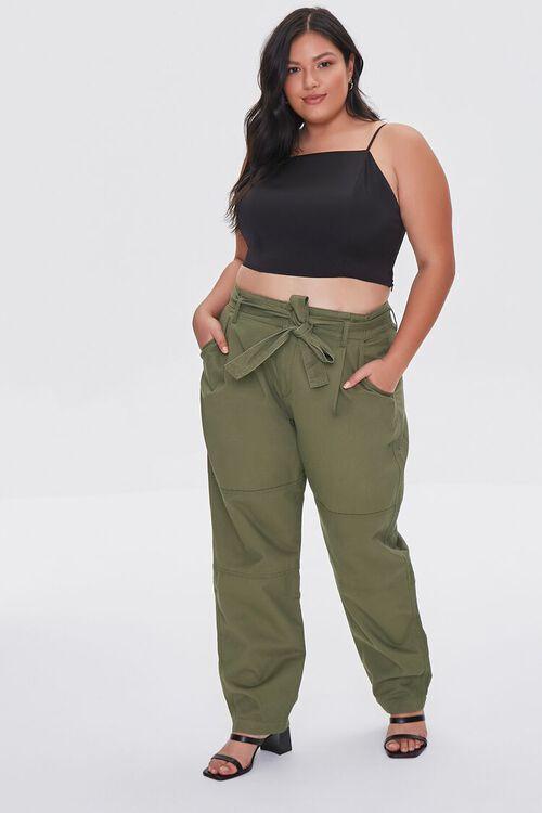 Plus Size Sash-Belt Cargo Pants, image 1