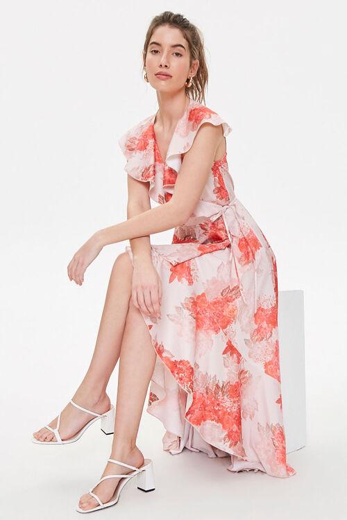 Satin Floral High-Low Wrap Dress, image 4
