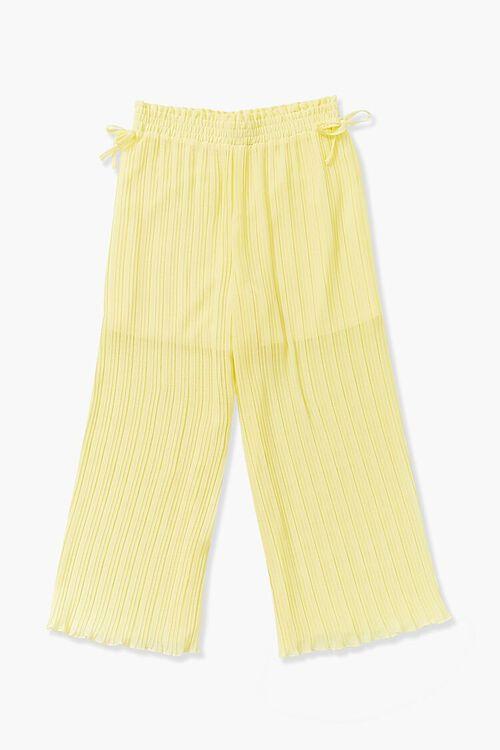 YELLOW Girls Crinkled Wide-Leg Pants (Kids), image 2