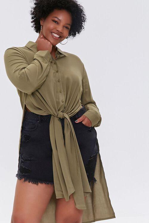 Plus Size Knotted Longline Shirt, image 5
