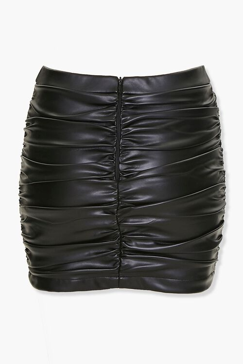 Ruched Faux Leather Mini Skirt, image 3