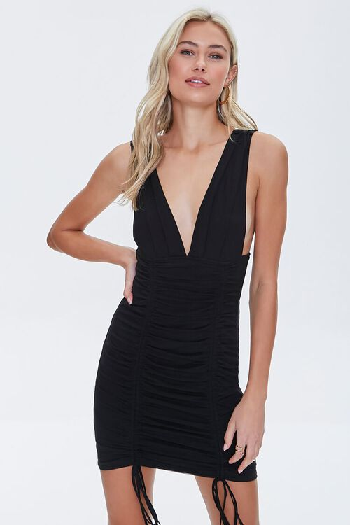 Plunging Ruched Mini Dress, image 1