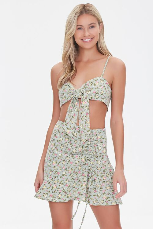 Floral Print Crop Top & Skirt Set, image 7