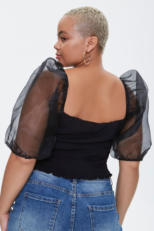 Plus Size Smocked Organza-Sleeve Top, image 3