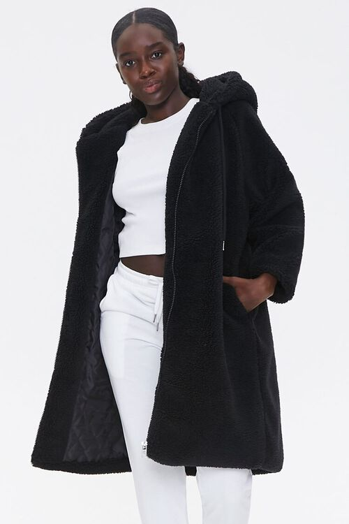 Faux Shearling Longline Hooded Coat, image 1