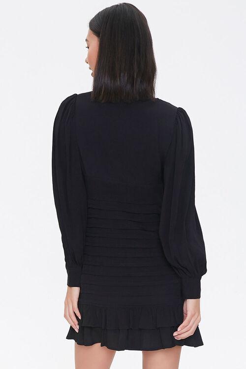 BLACK Pleated Ladder-Trim Mini Dress, image 3