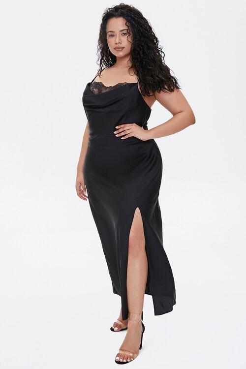 Plus Size Satin Cami Maxi Dress, image 1