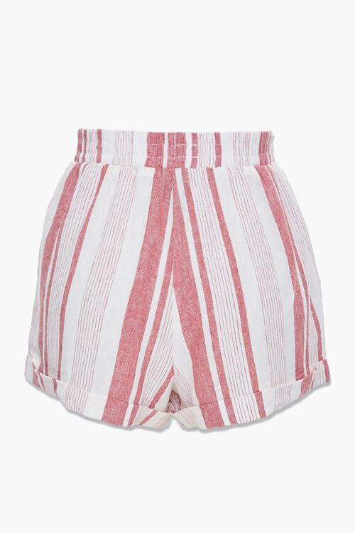 WHITE/RED Striped Linen-Blend Shorts, image 3