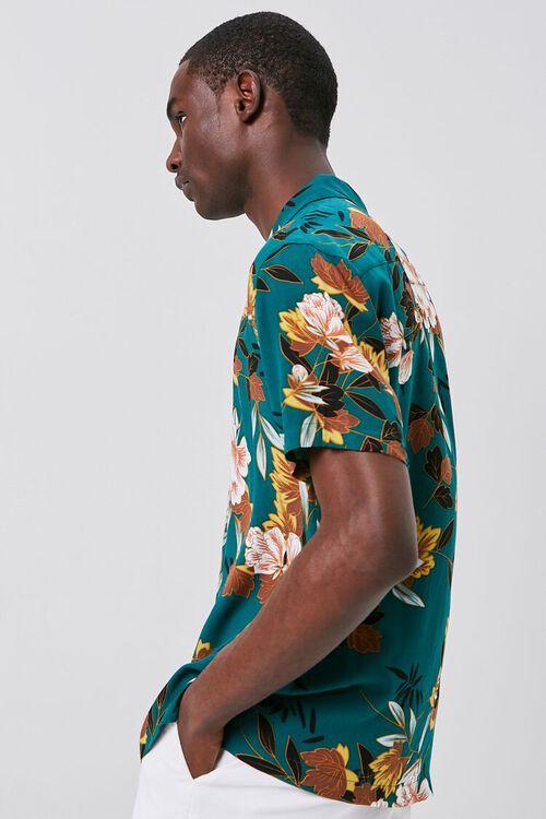 TEAL/MULTI Floral Print Cuban Shirt, image 2