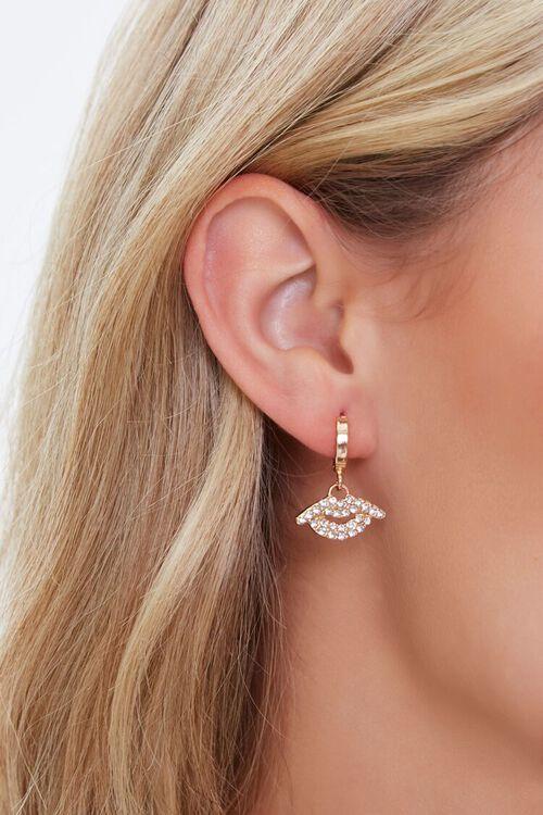 GOLD Rhinestone Pendant Hoop Earrings, image 1