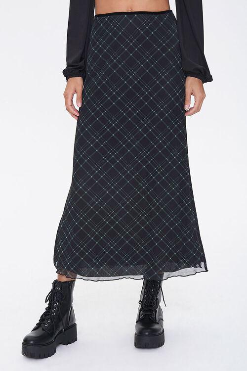 BLACK/MULTI Plaid A-Line Midi Skirt, image 2