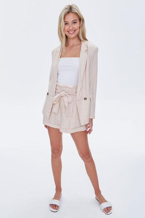 BEIGE Double-Breasted Linen Blazer, image 5