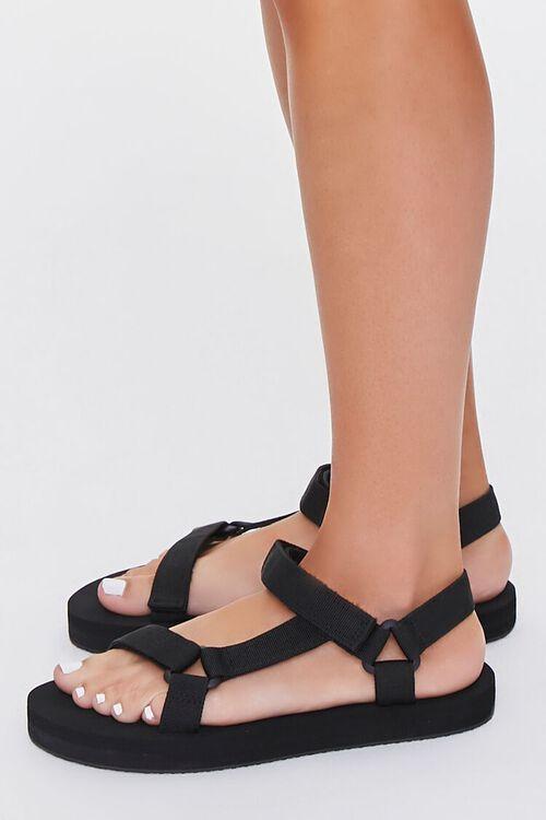 BLACK Strappy Flatform Sandals, image 2