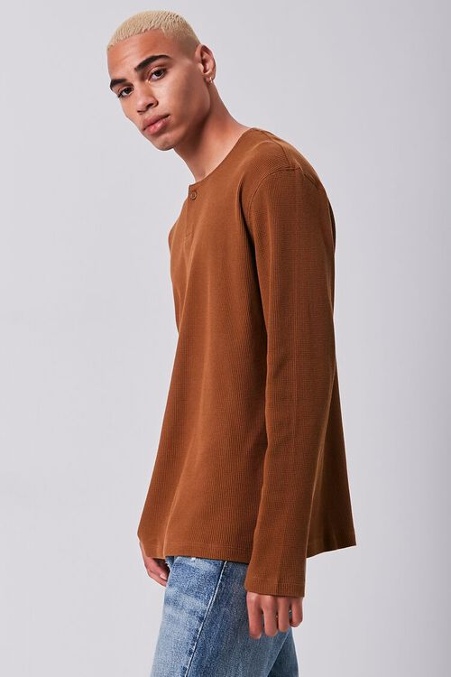 BROWN Henley Thermal Top, image 2
