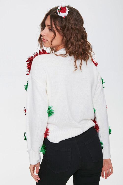 IVORY/MULTI Santa Snowglobe Garland Ball Sweater, image 3