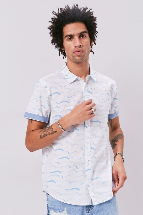 Wave Print Fitted Shirt, image 1