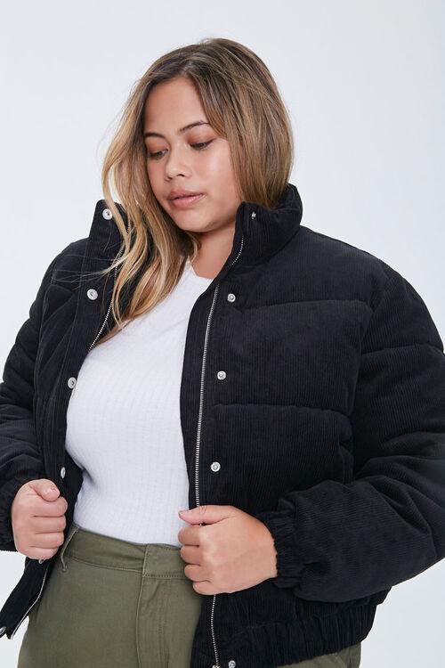 Plus Size Corduroy Puffer Jacket, image 1