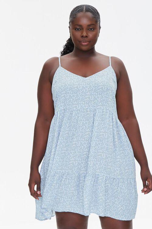 LIGHT BLUE/MULTI Plus Size Floral Print Mini Dress, image 1