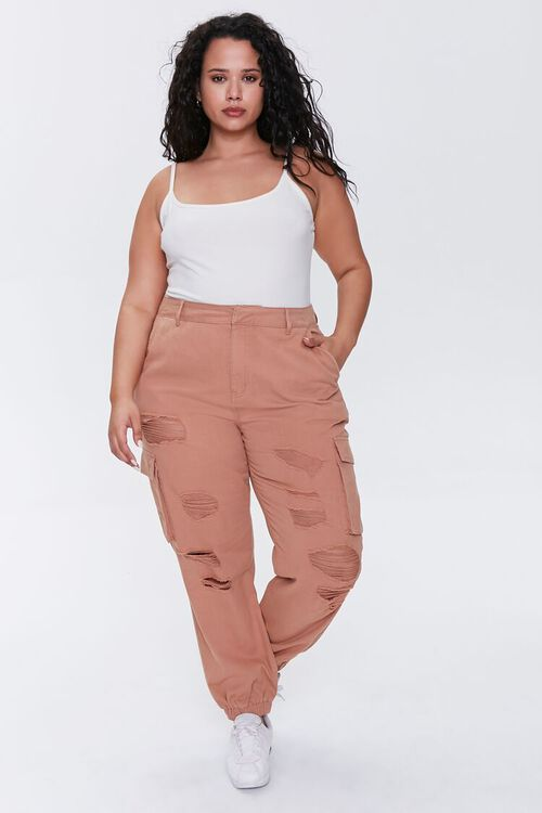 Plus Size Distressed Joggers, image 1