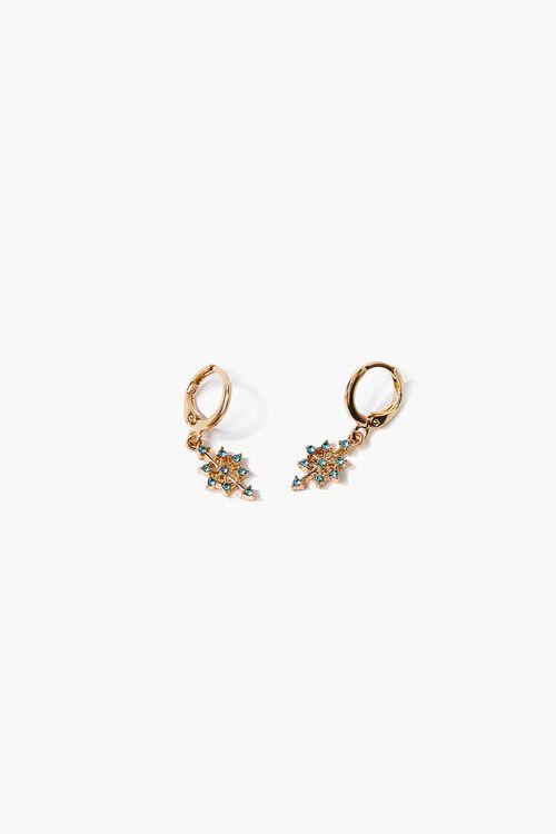 Faux Gem Charm Hoop Earrings, image 1