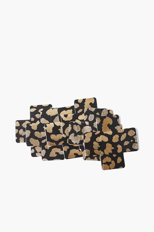 BLACK/MULTI Leopard Cross Nipple Cover Set, image 1