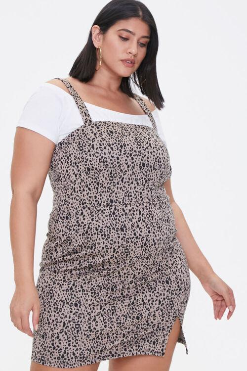 Plus Size Leopard Print Mini Dress, image 1