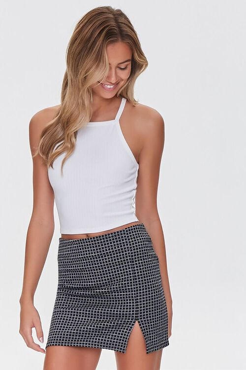 BLACK/WHITE Grid Print Mini Skirt, image 1