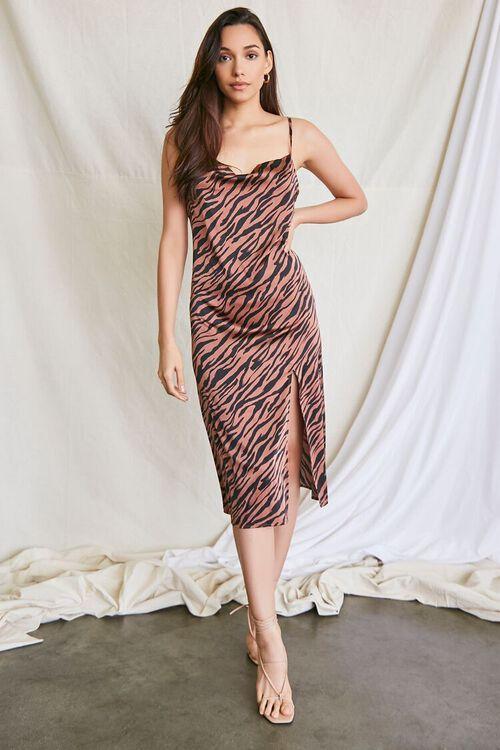 BROWN/MULTI Tiger Print Slip Dress, image 4