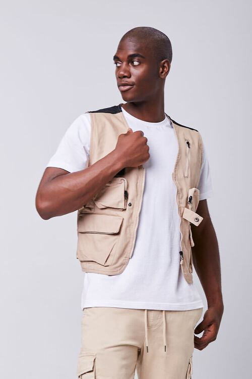 TAUPE Zip-Up Utility Vest, image 1