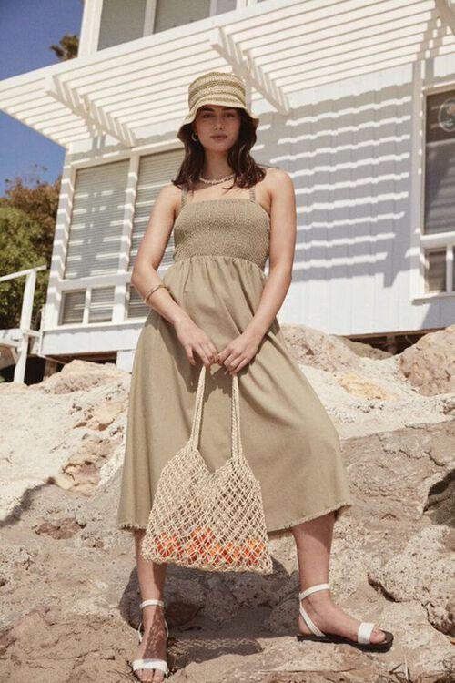 Smocked Caged-Back Dress, image 1