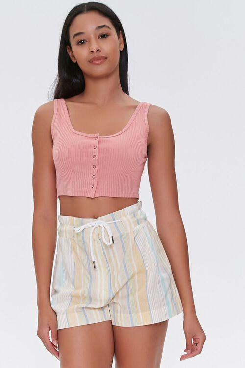 Striped Drawstring Paperbag Shorts, image 1
