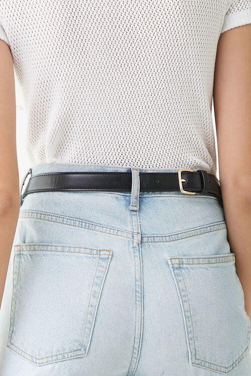 BLACK Studded Faux Leather Belt Bag, image 2