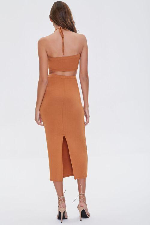 Ruched Halter Top & Midi Skirt Set, image 3