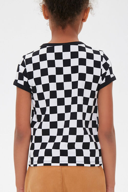 Girls Checkered Ringer Tee (Kids), image 3