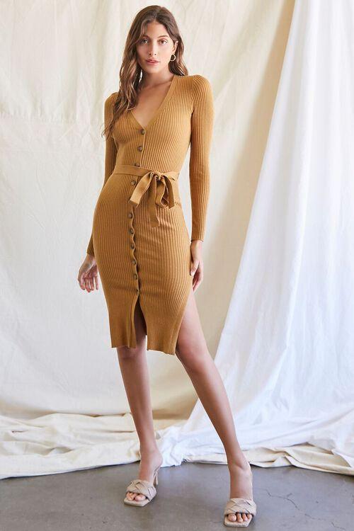 CAMEL Ribbed Sweater Dress, image 4